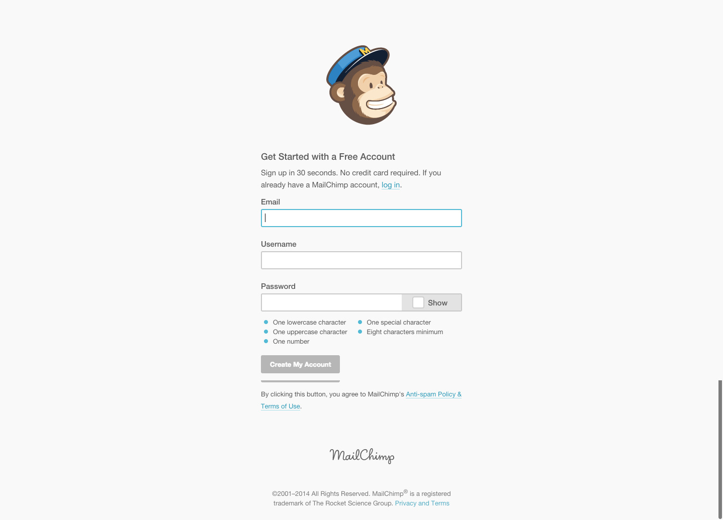 MailChimp Signup Page